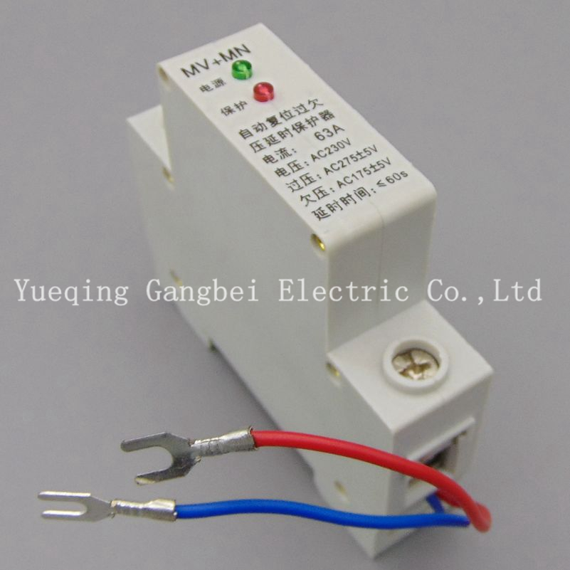 1P 63A 230V Din rail automatic recovery reconnect over voltage and under voltage protective device protector protection relay 1pc 63a 230v self recovery automatic reconnect over