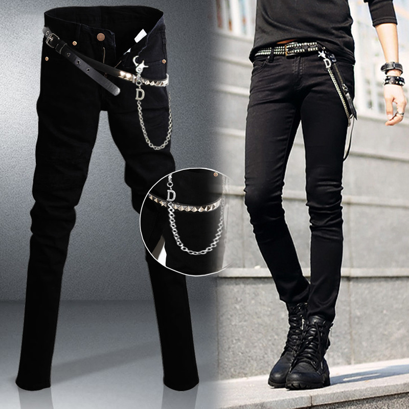 Mens Slim Fit Jeans Punk Cool Super Skinny Denim Pants Hot Selling With Chain For Male Trend Streetwear Casual Jeans Men