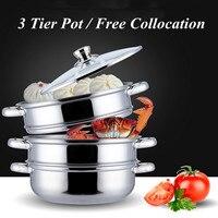 3 Tier Stainless Steel Steamer Saucepan Pot Thicken Boiler Induction Compatible Home Kitchen Steaming Soup Pot Steamer Cookware