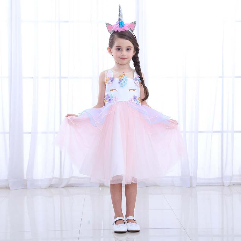 Unicorn Princess Dress Girls Perform Lace Dress  Vocaloid Cosplay Christmas Party Dresses with Unicorn Headwear