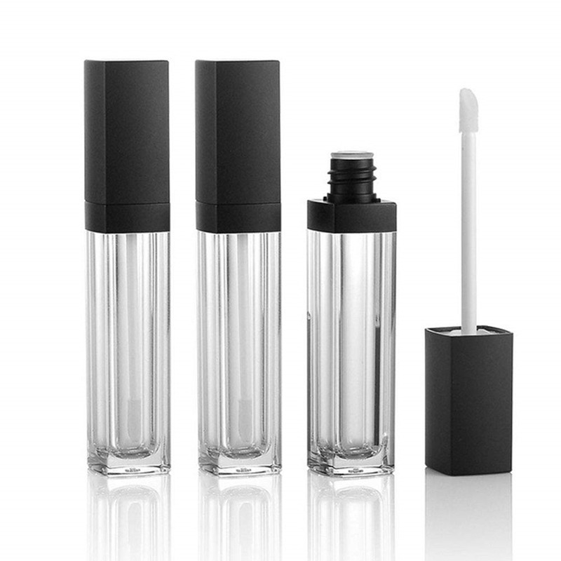 3Pcs 10ml Empty Square Lip Gloss Tube Clear Lipstick Lip Balm Bottle Container with Lipbrush Black Cover for Travel and Home Use image