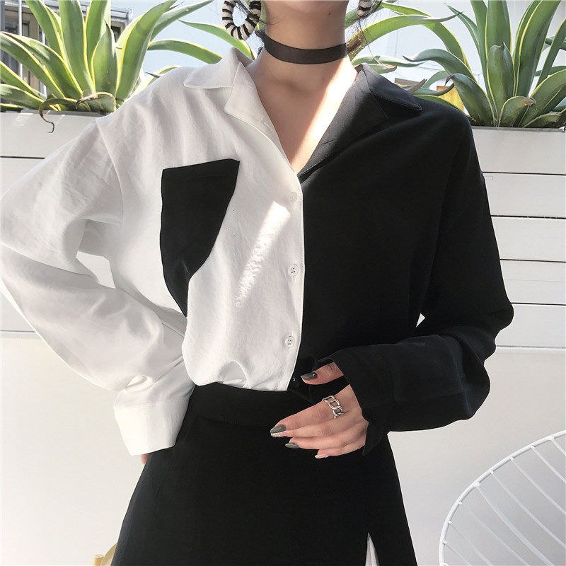 Chic Shirts Women Streetwear Harajuku Black White Contrast Vintage Shirt Female Long-sleeve Spring Hong Kong Style Blouses 2019