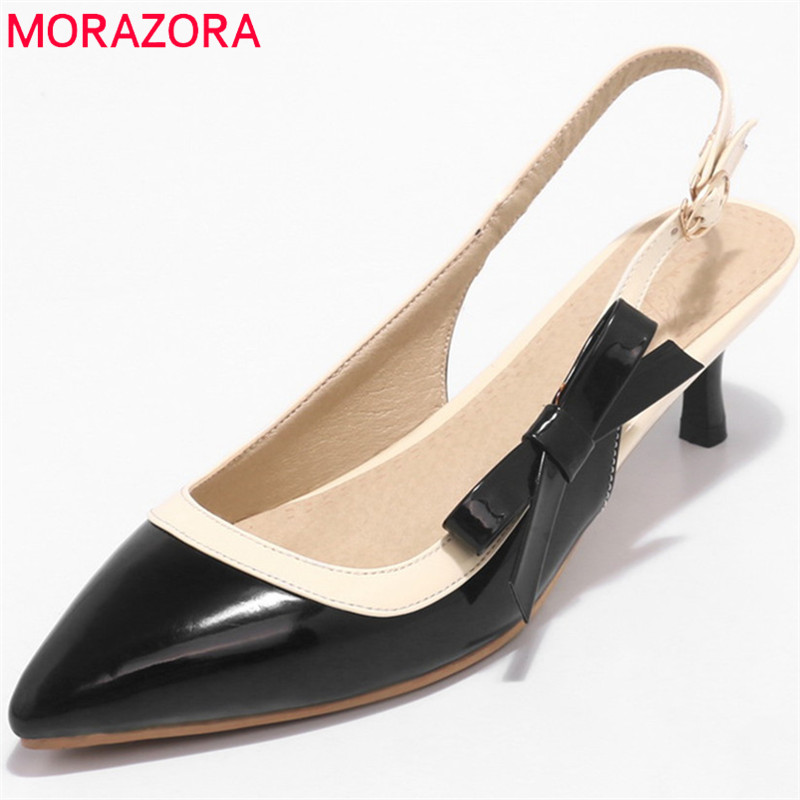 MORAZORA new arrive woman pumps spring summer sweet bowknot fashion splice color sexy thin heels pointed toe buckle shoes woman lakeshi new fashion pumps thin sexy high heeled shoes woman pointed suede hollow out bowknot sweet elegant women shoes