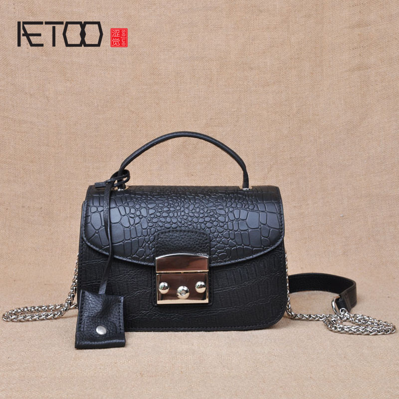 AETOO Europe and the United States fashion chain female bag leather handbag crocodile pattern leather bag mini shoulder Messenge gzgmet spring ring for audio video cctv camera bnc female jack coupler wire connector