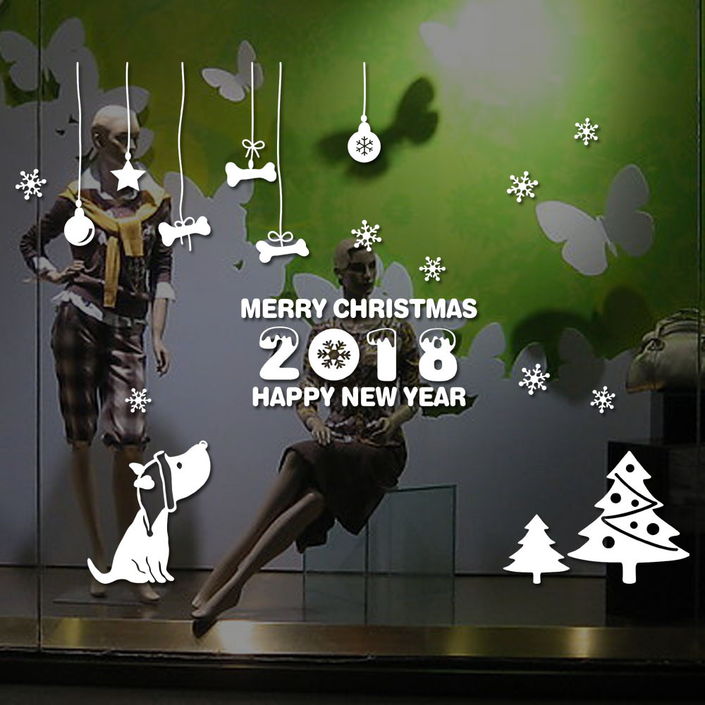 Happy New Year 2018 Merry Christmas Tree Wall Sticker Home Shop Windows Decals Decor Christmas Decorative Wall Sticker