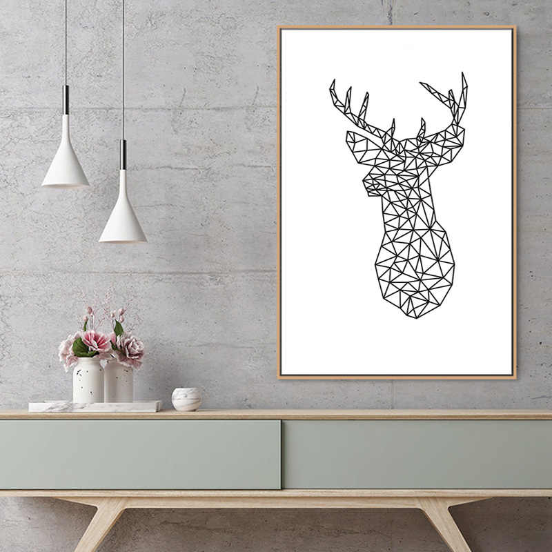 Minimalist Deer Head Geometric Triangles Origami Canvas Paintings Nordic Animal Poster Wall Art Picture For Kids Room Home Decor