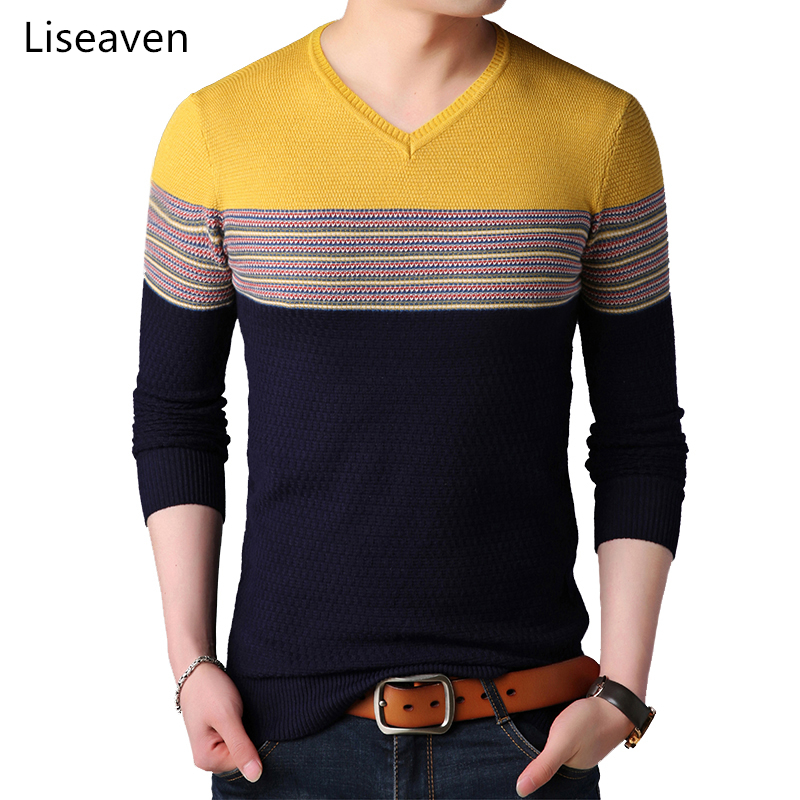 Liseaven Pullovers Men Patchwork Cashmere Sweaters Winter Knitted Pullover Sweater Men's Clothing