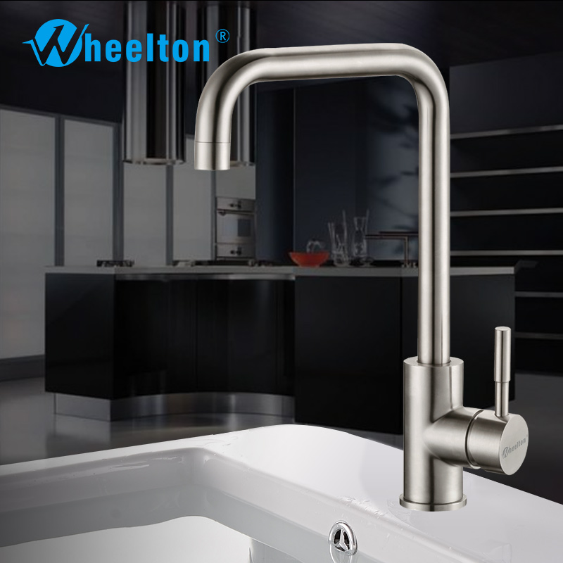 Wheelton Kitchen Faucet Stainless Steel Non-Lead 360 Rotation Cold&Hot Water Mixer Tap Single Handle  All For Kitchen -Silver mini stainless steel handle cuticle fork silver