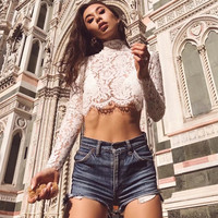 2018 Summer Women Lace Hollow Out T Shirt Casual Sexy Cropped Tops Back Zipper Open Shirts