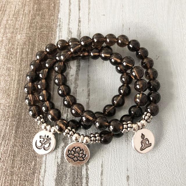 Men Women A Mala Om Bracelets Lotus Buddha Yoga Charm Wrist Smoky Q Uartz Beaded