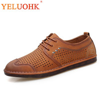 Genuine Leather Men Shoes Breathable Lace Up Men Summer Shoes High Quality Leather Shoes