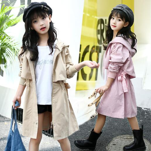 все цены на Girls Trench Coat Autumn 2018 Children Long Coat Kids Cotton Jackets Fashion Teenage Girls  Fashion Outwear Clothes в интернете