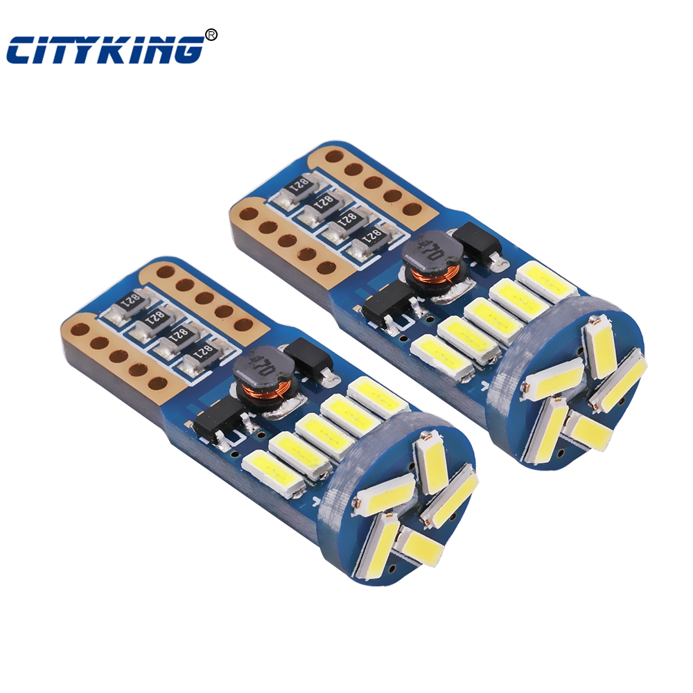 10PCS/lot Car Auto LED T10 canbus led W5W Canbus t10 led 15smd 4014 LED nonpolarity led Parking Light External Light