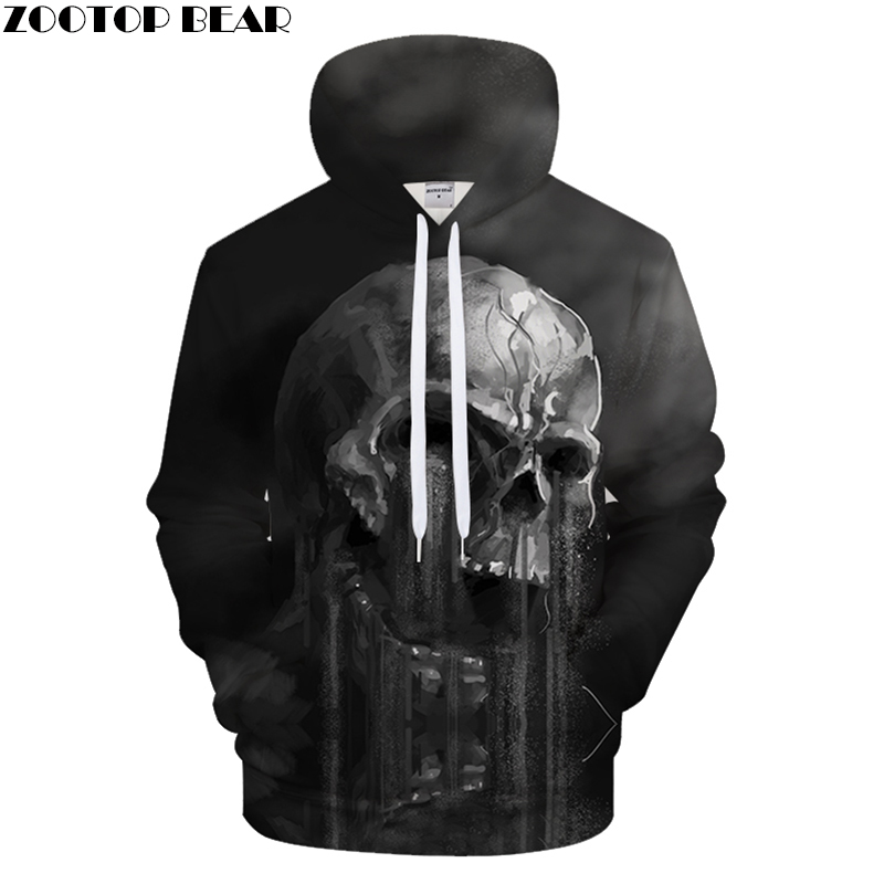 FLowing 3D Skull Hoodie Men Hoody Summer Tracksuit Groot Sweatshirt Funny Jacket Pullover Coat Streatwear Drop Ship ZOOTOP BEAR