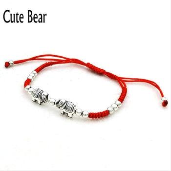 Elephant Bracelet Fatima Hand String Blue eyes Beads 4mm bead Lucky Red braided rope Adjustable Bracelet Women Reiki pulsera bead