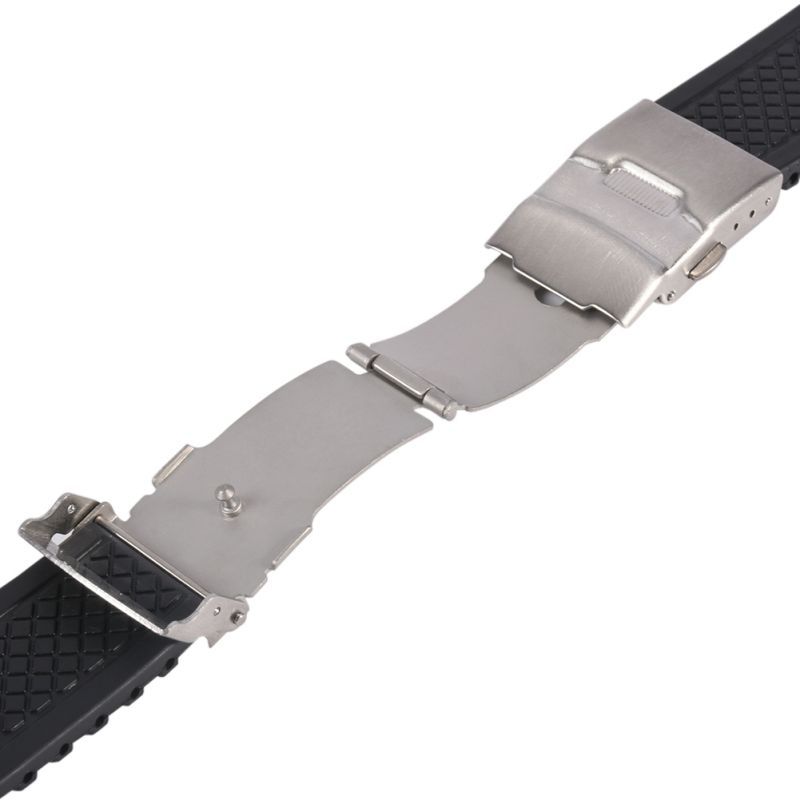 20mm 22mm 24mm Black Silicone Rubber Waterproof Watch Strap Band Deployment Buckle Watch Band все цены