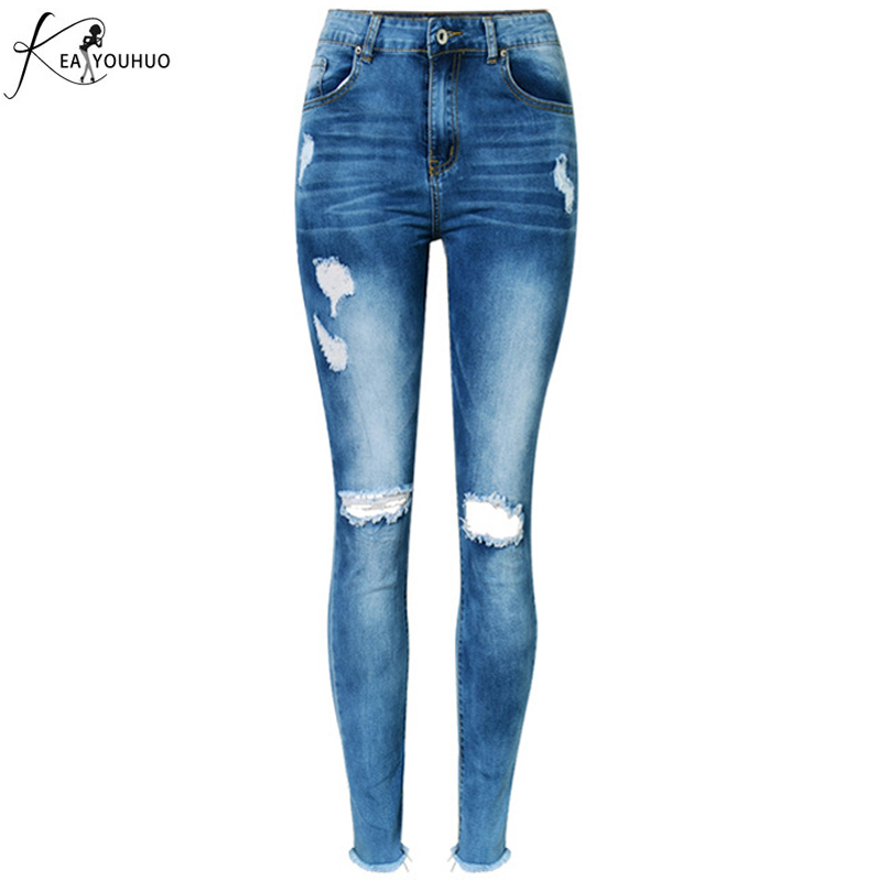 Tassel Casual Capri Jeans Ripped Jeans Female Skinny Pencil Denim Pants For Women Thin Summer Pantalon Femme Stretch Trousers купить