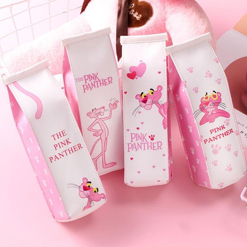 Novelty Cartoon Animal Milk Box Pink Pencil Case PU Leather Pencil Bag For Girl Stationery Estojo Escolar School Supplies