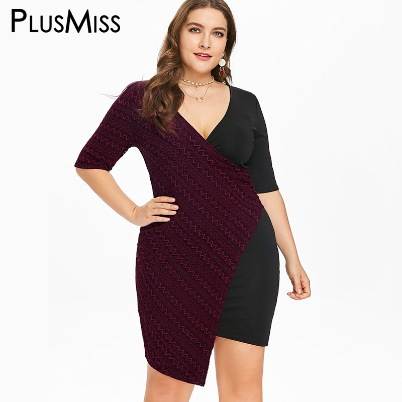 0b06afe37b PlusMiss Plus Size 5XL Sexy V Neck Bodycon Party Dresses Women Big Size  Evening Club Mini