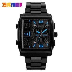 Image 5 - Skmei criativo esportes relógios masculinos de aço inoxidável malha moda relógio masculino marca superior luxo digital relogio masculino 1274