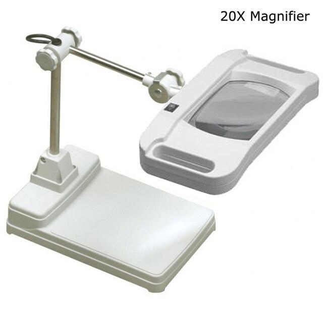 Delightful 110/220V20X Benchtop Magnifier Lamp Cross Holder Tabletop Desk Adjustable  Light LED Magnifier Lamp Desk