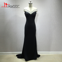 LIYATT 2018 Simple Elegant Black Spandex Stretch Material Crystal Sexy Mermaid Formal Evening Prom Dresses Custom