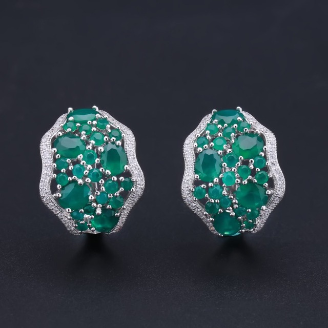 Gem's Ballet 9.54Ct Natural Green Agate Vintage Earrings 925 Sterling Silver Gemstone Stud Earrings For Women Fine Jewelry -in Earrings from Jewelry & Accessories on Aliexpress.com | Alibaba Group