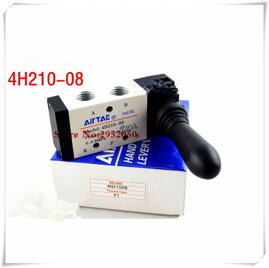 Free shipping Airtac 5 way Pneumatic Air Hand Lever Operated Valve 4H210-08 Port 1/4 BSP Manual Control Valves airtac solenoid valve 3v220 08 3v200 series 3 2 way 1 4 bspt pneumatic air control valve
