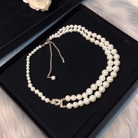 Brand Fashion Jewelry For Women Simulated pearl Neckalce Light Gold Chain C Letter Pendants Long Necklace Party Sweater Chain