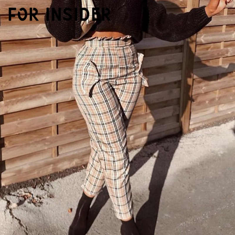 For Insider Vintage red plaid pants women Casual zipper ruffles high waist pants England style straight trousers streetwear