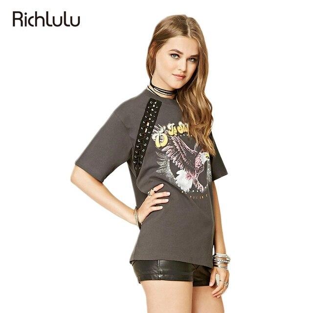 RichLuLu 2017 New Gray Printed T-shirt Women Short Sleeve O-Neck  Tops Women Slim Casual Basic Bandage Tees Female Clothes