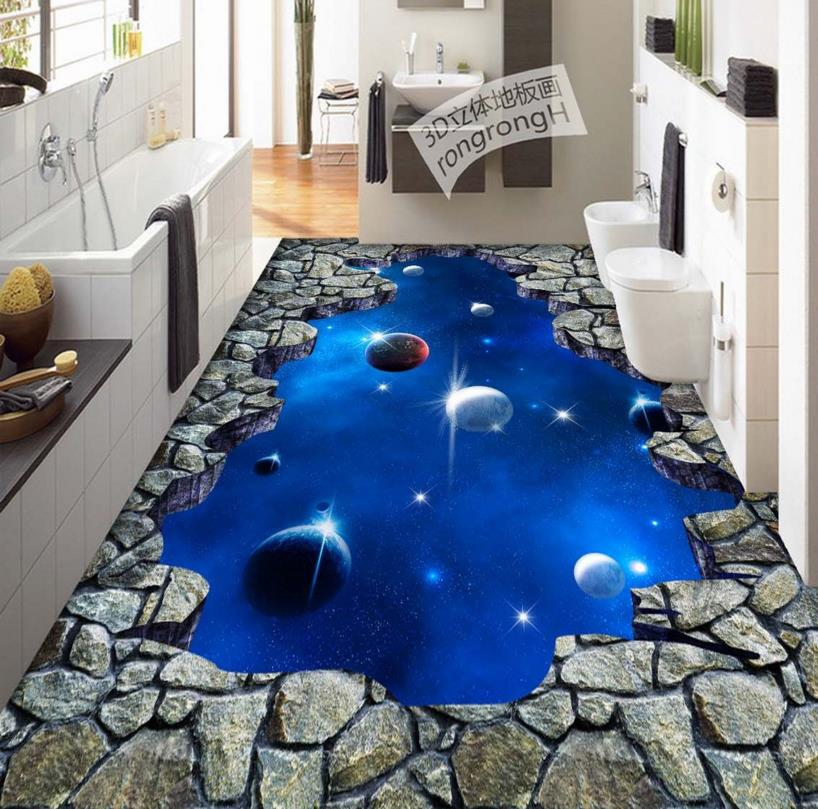 3D Floor Star Universe Wallpaper 3d PVC Vinyl Wear Non Slip Painting Waterproof Self Adhesive In Wallpapers From Home