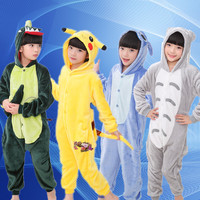 2017 Children Kigurumi Unicorn Stitch Giraffe Unisex Flannel Pajamas Boys Girl Cosplay Cartoon Animal Onesies Sleepwear