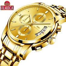 OLMECA New Men Watch Business Clock Full Steel Quartz Top Brand Luxury Casual Waterproof Sport Male Wristwatch Relogio Masculino