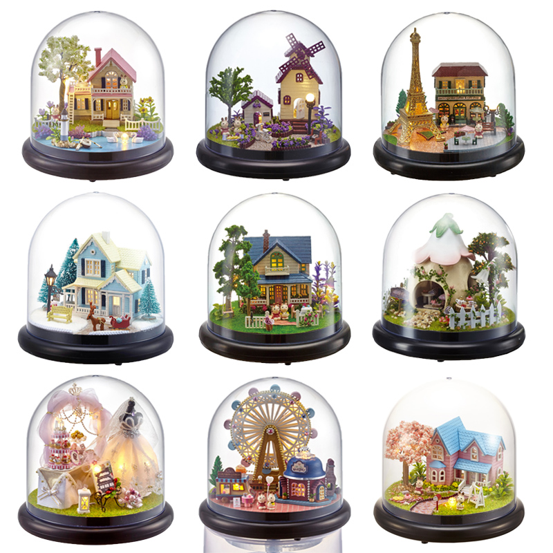 Doll Houses Casa Miniature DIY Dollhouse With Furnitures Transparent Cover Wooden Mini House Toys For Children Christmas Gift #G