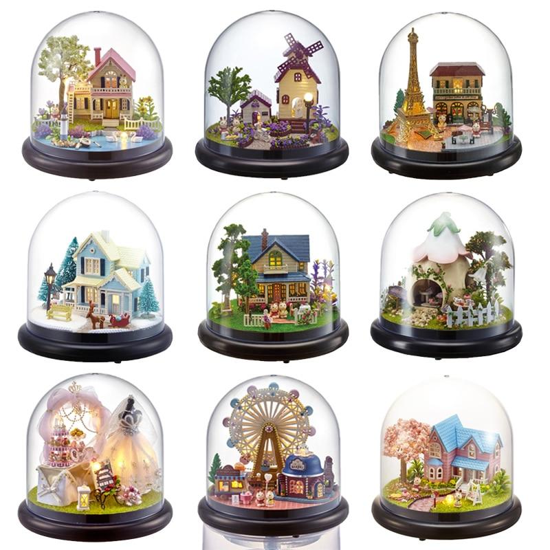 Casas de boneca casa em miniatura diy casa de bonecas com móveis transparente capa de madeira mini casa brinquedos para crianças presente de natal # g