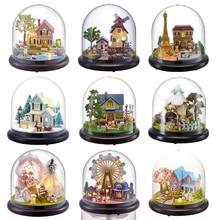 Кукольные домики Каса миниатюрный DIY кукольный домик с мебелью Прозрачная крышка Деревянный Мини-домик игрушки для детей Рождественский подарок# G