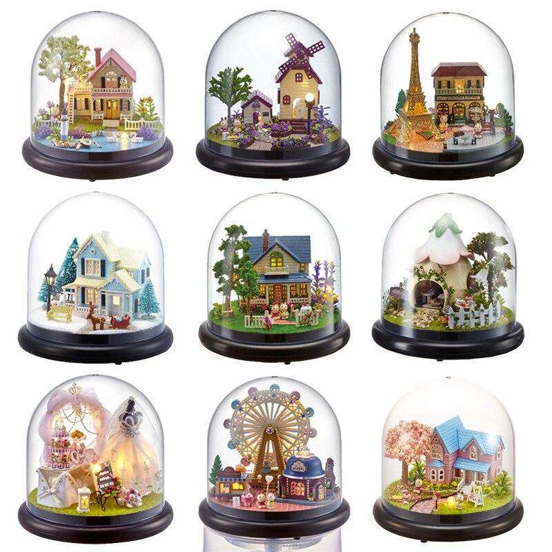 Casas de boneca Casa de Bonecas Em Miniatura DIY Com Móveis Tampa Transparente Casa De Madeira Mini Brinquedos Para Crianças Presente de Natal # G
