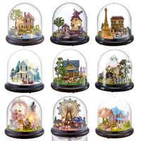 Casas de muñecas Casa miniatura DIY Casa de muñecas con muebles transparente cubierta de madera Mini Casa juguetes para niños regalo de Navidad # G
