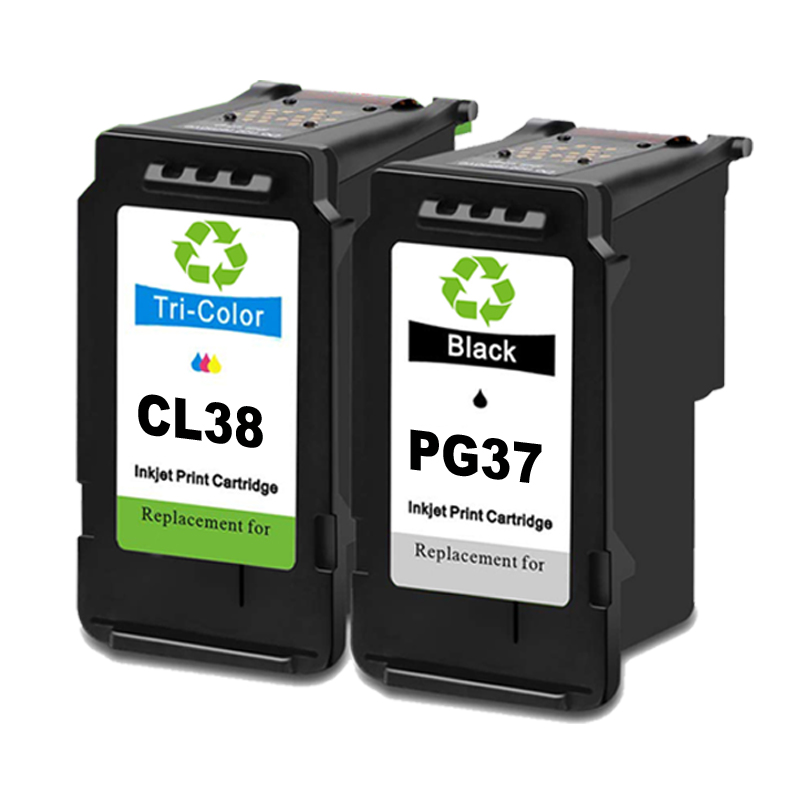 <font><b>PG</b></font>-<font><b>37</b></font> CL-38 Remanufactured Ink Cartridges Replacement for <font><b>Canon</b></font> Pixma iP1800 iP1900 iP2500 iP2600 MP140 MP190 image