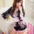 Satén Imprimir Sakura Japonés Yukata Robe Pijamas Mujeres Kimono Robe Sexy Albornoz Camisón de Tres Cuartos Del Verano Mini Tamaño Libre
