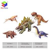Magic Puzzle 5 In 1 Dinosaur 3D Puzzle DIY Paper Fidget Puzzle For Kids Children Adults