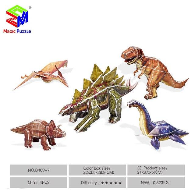 Magic Puzzle 5 In 1 Dinosaur 3d Puzzle Diy Paper Fidget Puzzle For