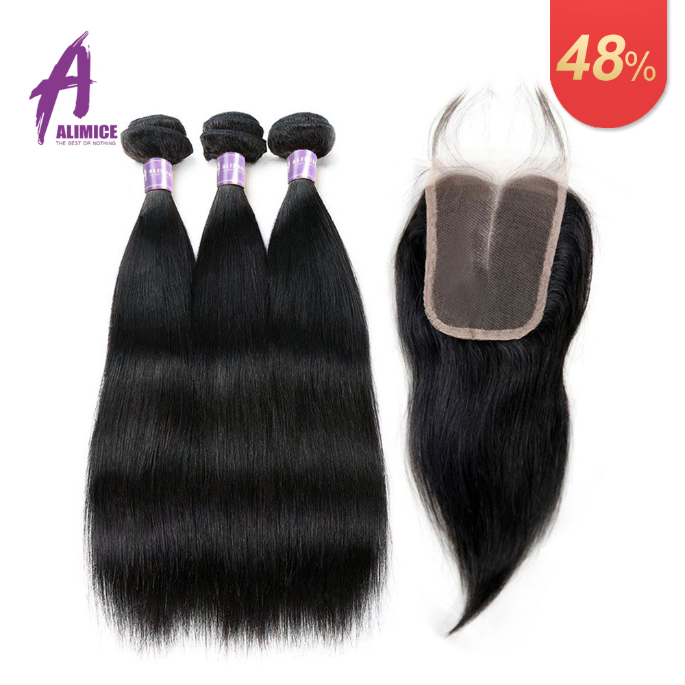 Alimice Hair Indian Straight Human Hair Bundles With Closure 3 Bundles Deal With Closure Natural Color Non Remy Hair Weave