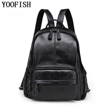 YOOFISH  Fashion Cow Leather 100% Genuine Women Backpack School Bags For Teenagers Girls Female Travel