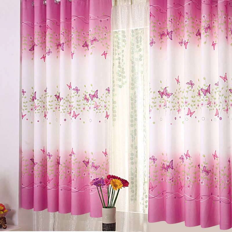 New 1*1.5m Cute Pink Butterfly Flower Curtain Pink White Shower Feminine Dreamy Folklore Bath Curtain Home Decoration