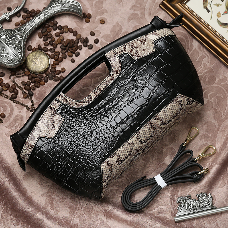 European style small geunie leather alligator day clutch bag first layer of cowhide snake pattern mini shoulder messenger bag luxury genuine leather women s day handbag all match panelled small bags first layer of cowhide messenger bag women s clutch bag