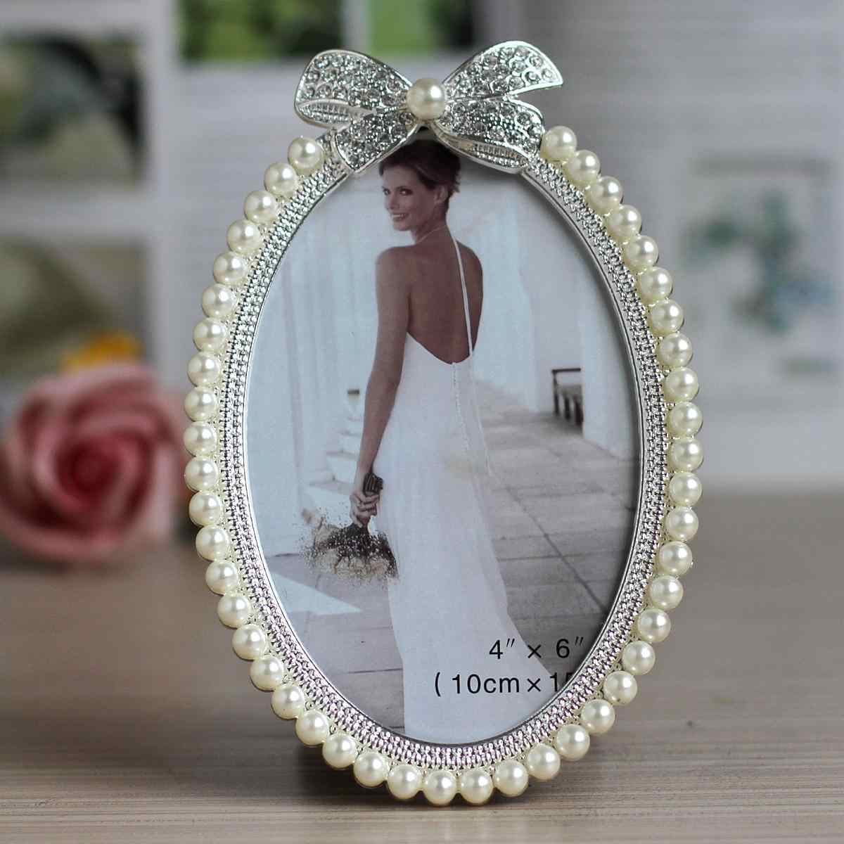 Hot Selling Newest 3 Inch 6 Inch 7 Inch Pearl Picture Frame with Diamond Pearl Pendulum Wedding Photo Frame Birthday Gift Item