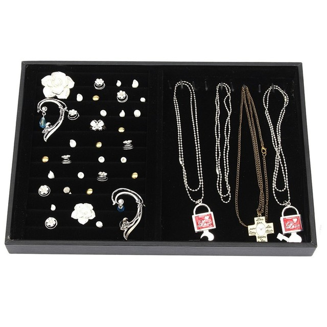 New Arrive Fashion Jewelry Display Velvet Slots Earrings Rings Necklaces Bangles Tray Organizer Storage Hol der Case Box