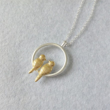 Jemmin Women Necklace 925 Sterling Silver Jewelry Pendants Double Gold Bird Necklace Female Fashion Lock Chain Fine Gifts